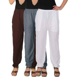 Culture the Dignity Women's Rayon Solid Casual Pants Office Trousers With Side Pockets Combo of 3 - Brown - Grey - White - C_RPT_B2G1W - Pack of 3 - Free Size
