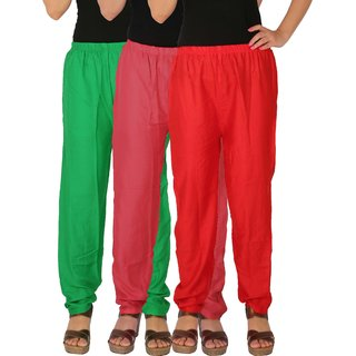 Culture the Dignity Women's Rayon Solid Casual Pants Office Trousers With Side Pockets Combo of 3 - Green - Pink - Red - C_RPT_GPR - Pack of 3 - Free Size