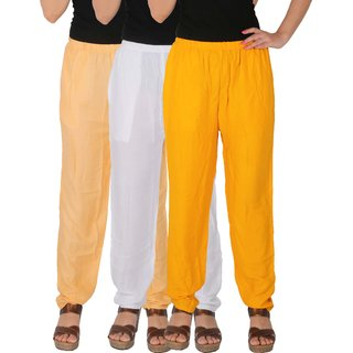 Culture the Dignity Women's Rayon Solid Casual Pants Office Trousers With Side Pockets Combo of 3 - Cream - White - Yellow - C_RPT_CWY - Pack of 3 - Free Size