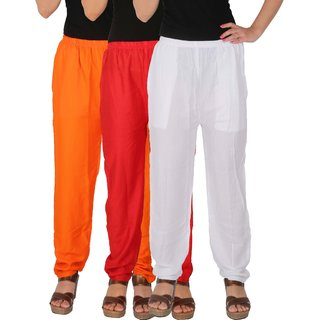 Culture the Dignity Women's Rayon Solid Casual Pants Office Trousers With Side Pockets Combo of 3 - Orange - Red - White - C_RPT_ORW - Pack of 3 - Free Size