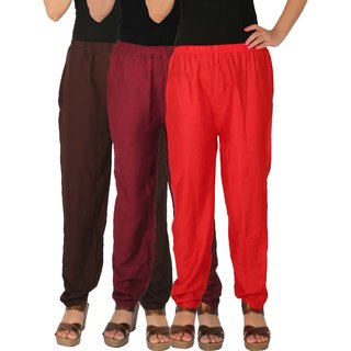 Culture the Dignity Women's Rayon Solid Casual Pants Office Trousers With Side Pockets Combo of 3 - Brown - Maroon - Red - C_RPT_B2MR - Pack of 3 - Free Size