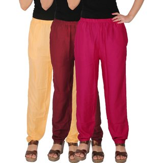 Culture the Dignity Women's Rayon Solid Casual Pants Office Trousers With Side Pockets Combo of 3 - Cream - Maroon - Magenta - C_RPT_CMM1 - Pack of 3 - Free Size