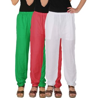 Culture the Dignity Women's Rayon Solid Casual Pants Office Trousers With Side Pockets Combo of 3 - Green - Pink - White - C_RPT_GPW - Pack of 3 - Free Size