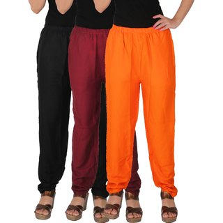 Culture the Dignity Women's Rayon Solid Casual Pants Office Trousers With Side Pockets Combo of 3 - Black - Maroon - Orange - C_RPT_BMO - Pack of 3 - Free Size