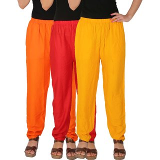 Culture the Dignity Women's Rayon Solid Casual Pants Office Trousers With Side Pockets Combo of 3 - Orange - Red - Yellow - C_RPT_ORY - Pack of 3 - Free Size