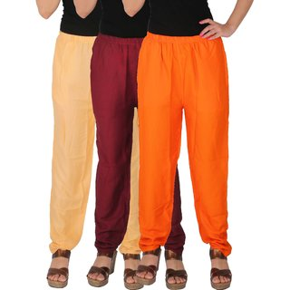 Culture the Dignity Women's Rayon Solid Casual Pants Office Trousers With Side Pockets Combo of 3 - Cream - Maroon - Orange - C_RPT_CMO - Pack of 3 - Free Size