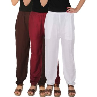 Culture the Dignity Women's Rayon Solid Casual Pants Office Trousers With Side Pockets Combo of 3 - Brown - Maroon - White - C_RPT_B2MW - Pack of 3 - Free Size