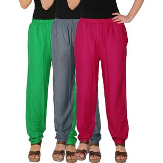 Culture the Dignity Women's Rayon Solid Casual Pants Office Trousers With Side Pockets Combo of 3 - Green - Grey - Magenta - C_RPT_GG1M1 - Pack of 3 - Free Size