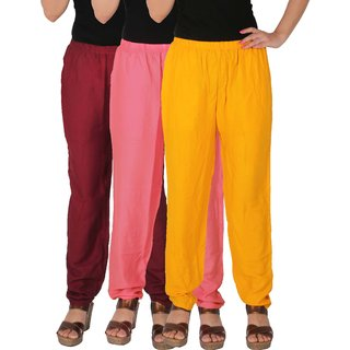 Culture the Dignity Women's Rayon Solid Casual Pants Office Trousers With Side Pockets Combo of 3 - Maroon - Baby Pink - Yellow - C_RPT_MP2Y - Pack of 3 - Free Size