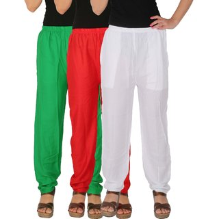 Culture the Dignity Women's Rayon Solid Casual Pants Office Trousers With Side Pockets Combo of 3 - Green - Red - White - C_RPT_GRW - Pack of 3 - Free Size