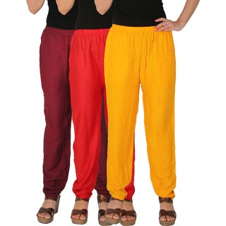 Culture the Dignity Women's Rayon Solid Casual Pants Office Trousers With Side Pockets Combo of 3 - Maroon - Red - Yellow - C_RPT_MRY - Pack of 3 - Free Size
