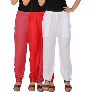 Culture the Dignity Women's Rayon Solid Casual Pants Office Trousers With Side Pockets Combo of 3 - Pink - Red - White - C_RPT_PRW - Pack of 3 - Free Size