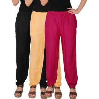 Culture the Dignity Women's Rayon Solid Casual Pants Office Trousers With Side Pockets Combo of 3 - Black - Cream - Magenta - C_RPT_BCM1 - Pack of 3 - Free Size