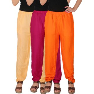 Culture the Dignity Women's Rayon Solid Casual Pants Office Trousers With Side Pockets Combo of 3 - Cream - Magenta - Orange - C_RPT_CM1O - Pack of 3 - Free Size