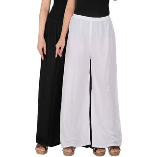 Palazzo - Culture the Dignity Women's Rayon Solid Palazzo Ethnic  Pants Palazzo Ethnic Trousers Combo of 2 -  Black -  White -  C_RPZ_BW -  Pack of 2 -  Free Size
