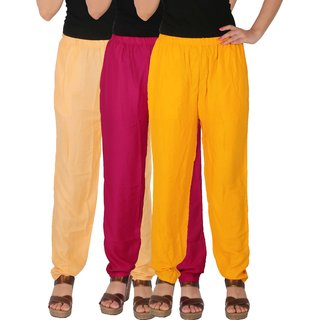 Culture the Dignity Women's Rayon Solid Casual Pants Office Trousers With Side Pockets Combo of 3 - Cream - Magenta - Yellow - C_RPT_CM1Y - Pack of 3 - Free Size