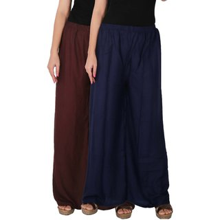 Palazzo - Culture the Dignity Women's Rayon Solid Palazzo Ethnic  Pants Palazzo Ethnic Trousers Combo of 2 -  Brown -  Navy Blue -  C_RPZ_B2B3 -  Pack of 2 -  Free Size