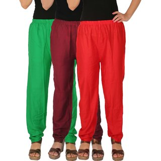 Culture the Dignity Women's Rayon Solid Casual Pants Office Trousers With Side Pockets Combo of 3 - Green - Maroon - Red - C_RPT_GMR - Pack of 3 - Free Size