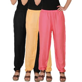 Culture the Dignity Women's Rayon Solid Casual Pants Office Trousers With Side Pockets Combo of 3 - Black - Cream - Baby Pink - C_RPT_BCP2 - Pack of 3 - Free Size