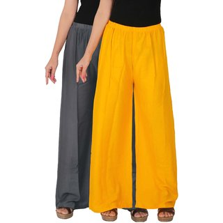 Culture the Dignity Women's Rayon Solid Palazzo Pants Palazzo Trousers Combo of 2 -  Grey -  Yellow -  C_RPZ_G1Y -  Pack of 2 -  Free Size
