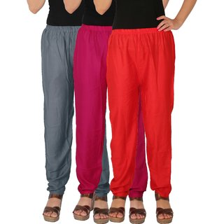 Culture the Dignity Women's Rayon Solid Casual Pants Office Trousers With Side Pockets Combo of 3 - Grey - Magenta - Red - C_RPT_G1M1R - Pack of 3 - Free Size