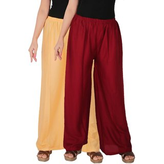 Culture the Dignity Women's Rayon Solid Palazzo Pants Palazzo Trousers Combo of 2 -  Cream -  Maroon -  C_RPZ_CM -  Pack of 2 -  Free Size