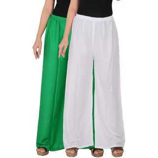 Palazzo - Culture the Dignity Women's Rayon Solid Palazzo Ethnic  Pants Palazzo Ethnic Trousers Combo of 2 -  Green -  White -  C_RPZ_GW -  Pack of 2 -  Free Size