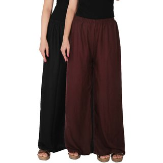 Palazzo - Culture the Dignity Women's Rayon Solid Palazzo Ethnic  Pants Palazzo Ethnic Trousers Combo of 2 -  Black -  Brown -  C_RPZ_BB2 -  Pack of 2 -  Free Size