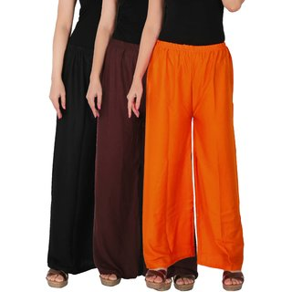 Culture the Dignity Women's Rayon Solid Palazzo Pants Palazzo Trousers Combo of 3 - Black - Brown - Orange - C_RPZ_BB2O - Pack of 3 - Free Size