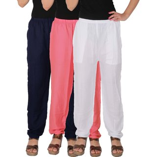 Culture the Dignity Women's Rayon Solid Casual Pants Office Trousers With Side Pockets Combo of 3 - Navy Blue - Baby Pink - White - C_RPT_B3P2W - Pack of 3 - Free Size