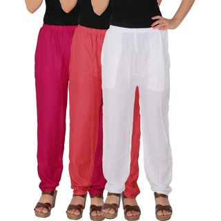 Culture the Dignity Women's Rayon Solid Casual Pants Office Trousers With Side Pockets Combo of 3 - Magenta - Pink - White - C_RPT_M1PW - Pack of 3 - Free Size