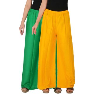Palazzo - Culture the Dignity Women's Rayon Solid Palazzo Ethnic  Pants Palazzo Ethnic Trousers Combo of 2 -  Green -  Yellow -  C_RPZ_GY -  Pack of 2 -  Free Size