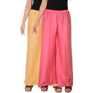 Culture the Dignity Women's Rayon Solid Palazzo Pants Palazzo Trousers Combo of 2 -  Cream -  Baby Pink -  C_RPZ_CP2 -  Pack of 2 -  Free Size