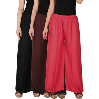 Culture the Dignity Women's Rayon Solid Palazzo Pants Palazzo Trousers Combo of 3 - Black - Brown - Pink - C_RPZ_BB2P - Pack of 3 - Free Size