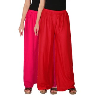 Palazzo - Culture the Dignity Women's Rayon Solid Palazzo Ethnic  Pants Palazzo Ethnic Trousers Combo of 2 -  Magenta -  Red -  C_RPZ_M1R -  Pack of 2 -  Free Size