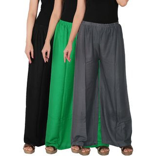 Culture the Dignity Women's Rayon Solid Palazzo Pants Palazzo Trousers Combo of 3 - Black - Green - Grey - C_RPZ_BGG1 - Pack of 3 - Free Size
