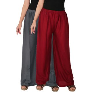 Palazzo - Culture the Dignity Women's Rayon Solid Palazzo Ethnic  Pants Palazzo Ethnic Trousers Combo of 2 -  Grey -  Maroon -  C_RPZ_G1M -  Pack of 2 -  Free Size