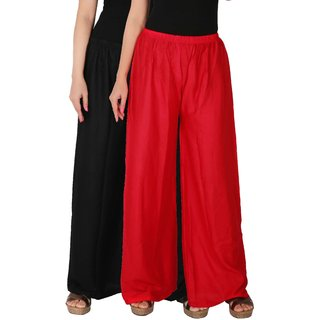 Culture the Dignity Women's Rayon Solid Palazzo Pants Palazzo Trousers Combo of 2 -  Black -  Red -  C_RPZ_BR -  Pack of 2 -  Free Size