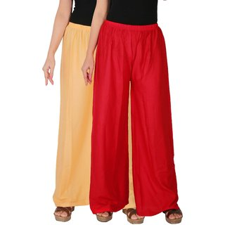 Culture the Dignity Women's Rayon Solid Palazzo Pants Palazzo Trousers Combo of 2 -  Cream -  Red -  C_RPZ_CR -  Pack of 2 -  Free Size