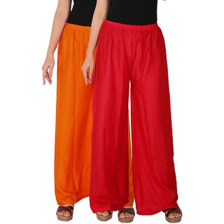 Culture the Dignity Women's Rayon Solid Palazzo Pants Palazzo Trousers Combo of 2 -  Orange -  Red -  C_RPZ_OR -  Pack of 2 -  Free Size