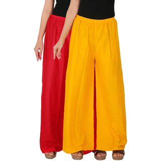 88138031ee231 Buy Culture the Dignity Women's Rayon Solid Palazzo Pants Palazzo Trousers  Combo of 2 - Red - Yellow - C_RPZ_RY - Pack of 2 - Free Size Online - Get  70% Off
