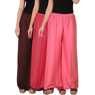 Culture the Dignity Women's Rayon Solid Palazzo Pants Palazzo Trousers Combo of 3 - Brown - Pink - Baby Pink - C_RPZ_B2PP2 - Pack of 3 - Free Size