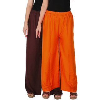 Culture the Dignity Women's Rayon Solid Palazzo Pants Palazzo Trousers Combo of 2 -  Brown -  Orange -  C_RPZ_B2O -  Pack of 2 -  Free Size