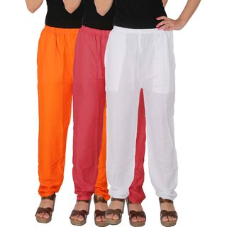 Culture the Dignity Women's Rayon Solid Casual Pants Office Trousers With Side Pockets Combo of 3 - Orange - Pink - White - C_RPT_OPW - Pack of 3 - Free Size