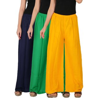 Culture the Dignity Women's Rayon Solid Palazzo Pants Palazzo Trousers Combo of 3 - Navy Blue - Green - Yellow - C_RPZ_B3GY - Pack of 3 - Free Size