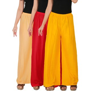 Culture the Dignity Women's Rayon Solid Palazzo Pants Palazzo Trousers Combo of 3 - Cream - Red - Yellow - C_RPZ_CRY - Pack of 3 - Free Size