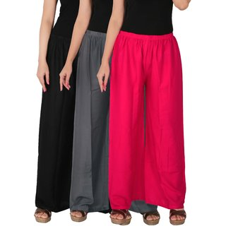 Culture the Dignity Women's Rayon Solid Palazzo Pants Palazzo Trousers Combo of 3 - Black - Grey - Magenta - C_RPZ_BG1M1 - Pack of 3 - Free Size