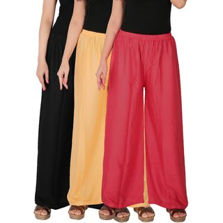 Culture the Dignity Women's Rayon Solid Palazzo Pants Palazzo Trousers Combo of 3 - Black - Cream - Pink - C_RPZ_BCP - Pack of 3 - Free Size