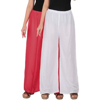 Palazzo - Culture the Dignity Women's Rayon Solid Palazzo Ethnic  Pants Palazzo Ethnic Trousers Combo of 2 -  Pink -  White -  C_RPZ_PW -  Pack of 2 -  Free Size