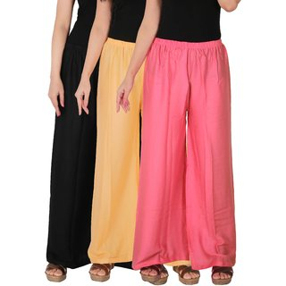 Culture the Dignity Women's Rayon Solid Palazzo Pants Palazzo Trousers Combo of 3 - Black - Cream - Baby Pink - C_RPZ_BCP2 - Pack of 3 - Free Size